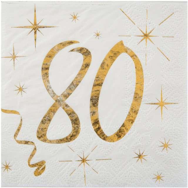 """Serwetki """"80 Urodziny - Gold"""", SANTEX, białe, 25 cm, 20 szt"""