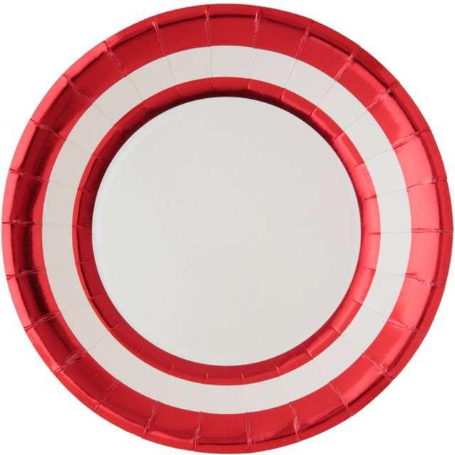 """Talerzyki papierowe """"Premium"""", czerwone metaliczne, 23 cm, 10 szt"""