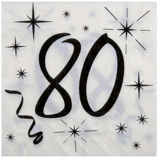"""Serwetki """"80 Urodziny"""", SANTEX, 33 cm, 20 szt"""
