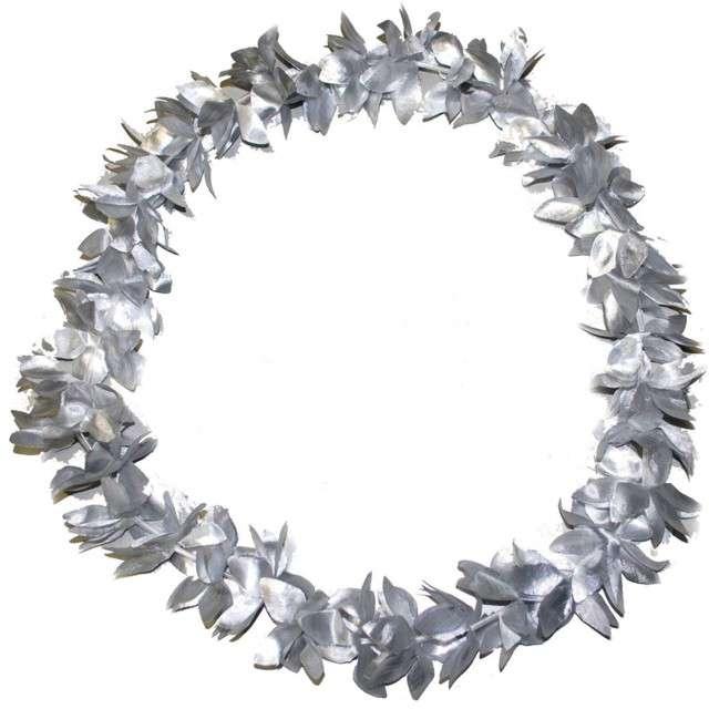"""Naszyjnik hawajski """"Kwiaty"""", srebrny, FunnyFashion, 100 cm"""