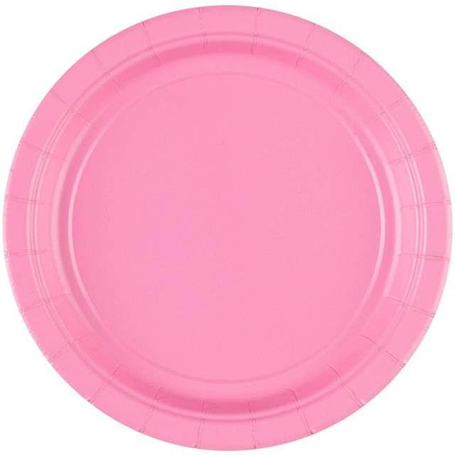 """Talerzyki papierowe """"Premium AMSCAN S - jumbo pack"""", różowe jasne, 18 cm, 20 szt"""