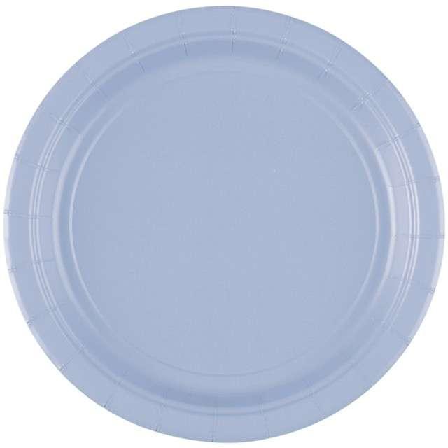 "Talerzyki papierowe ""Premium AMSCAN S - jumbo pack"", błękitne pastelowe, 18 cm, 20 szt"
