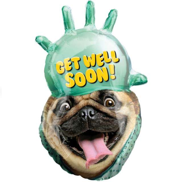 "Balon foliowy ""Get Well Soon - Buldog"", AMSCAN, 32"" SHP"