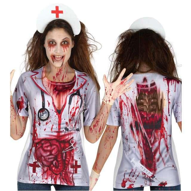 """Strój dla dorosłych """"Upiorna Pielęgniarka - Koszulka"""", GUIRCA, rozm. uniw."""