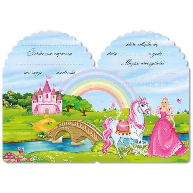 Zaproszenia z kopertą Księżniczka 10 szt