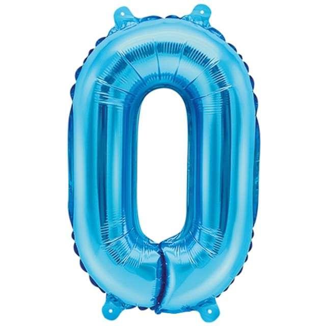 """Balon foliowy cyfra 0, 14"""", PartyDeco, niebieski"""
