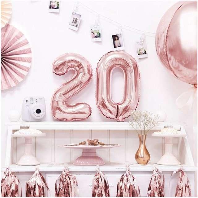 Balon foliowy cyfra 0 14 PartyDeco różowe złoto