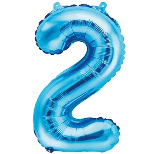 """Balon foliowy cyfra 2, 14"""", PartyDeco, niebieski"""