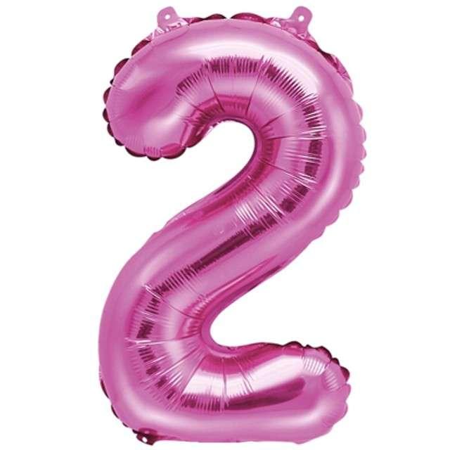 """Balon foliowy cyfra 2, 14"""", PartyDeco, różowy"""