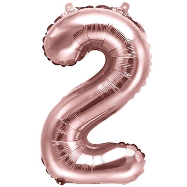 """Balon foliowy cyfra 2, 14"""", PartyDeco, różowe złoto"""
