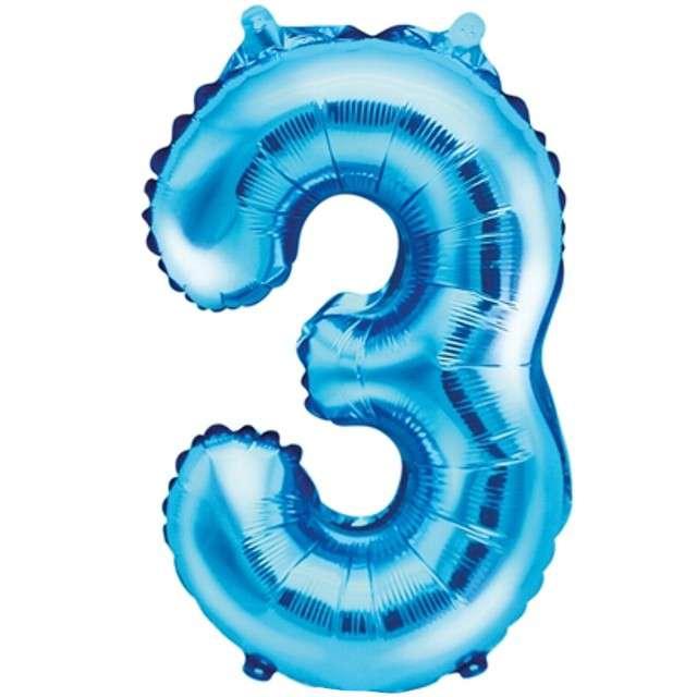 """Balon foliowy cyfra 3, 14"""", PartyDeco, niebieski"""