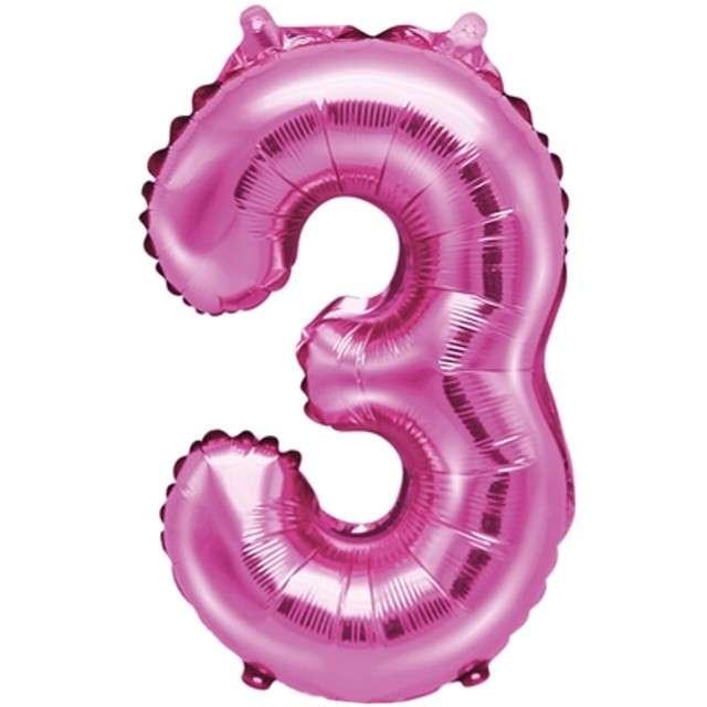 """Balon foliowy cyfra 3, 14"""", PartyDeco, różowy"""
