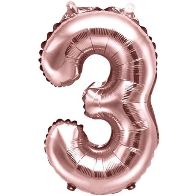 """Balon foliowy cyfra 3, 14"""", PartyDeco, różowe złoto"""