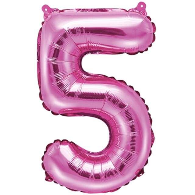 """Balon foliowy cyfra 5, 14"""", PartyDeco, różowy"""