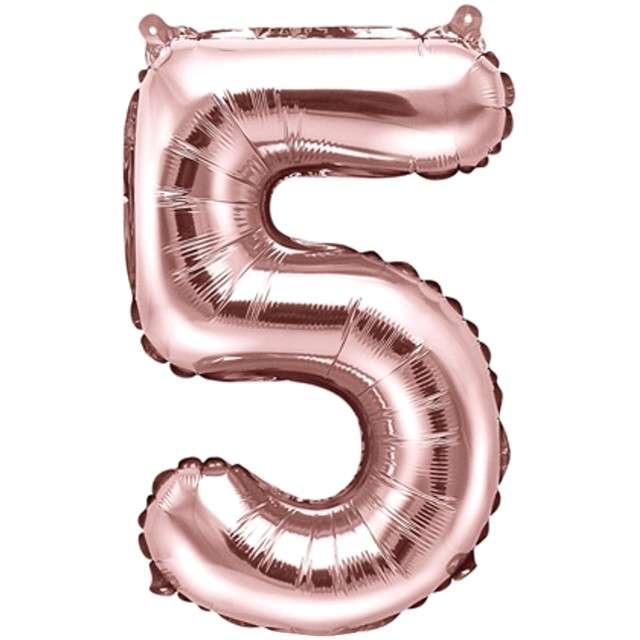 """Balon foliowy cyfra 5, 14"""", PartyDeco, różowe złoto"""
