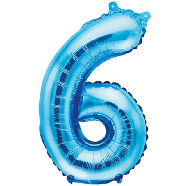 """Balon foliowy cyfra 6, 14"""", PartyDeco, niebieski"""