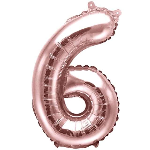 """Balon foliowy cyfra 6, 14"""", PartyDeco, różowe złoto"""
