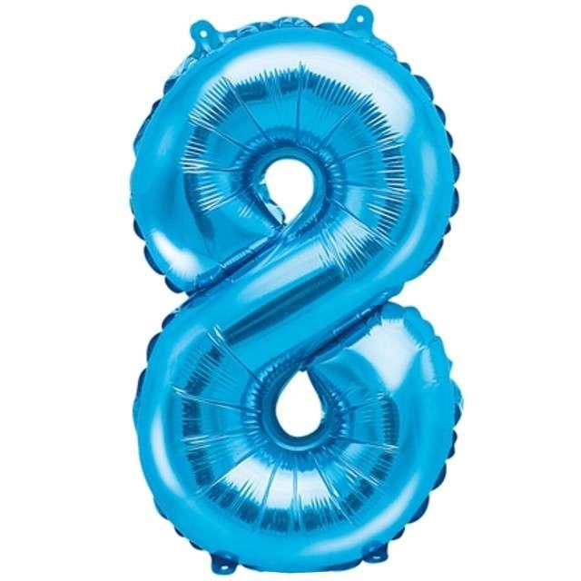 """Balon foliowy cyfra 8, 14"""", PartyDeco, niebieski"""