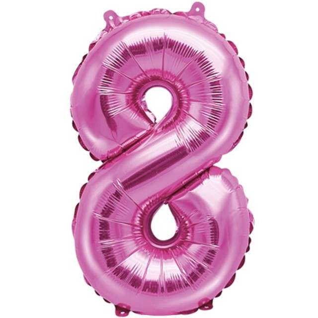 """Balon foliowy cyfra 8, 14"""", PartyDeco, różowy"""