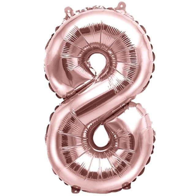 """Balon foliowy cyfra 8, 14"""", PartyDeco, różowe złoto"""