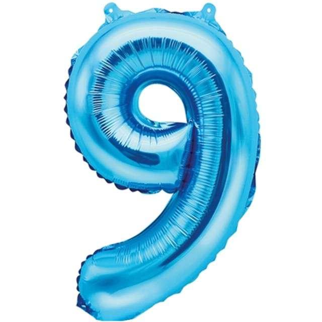 """Balon foliowy cyfra 9, 14"""", PartyDeco, niebieski"""