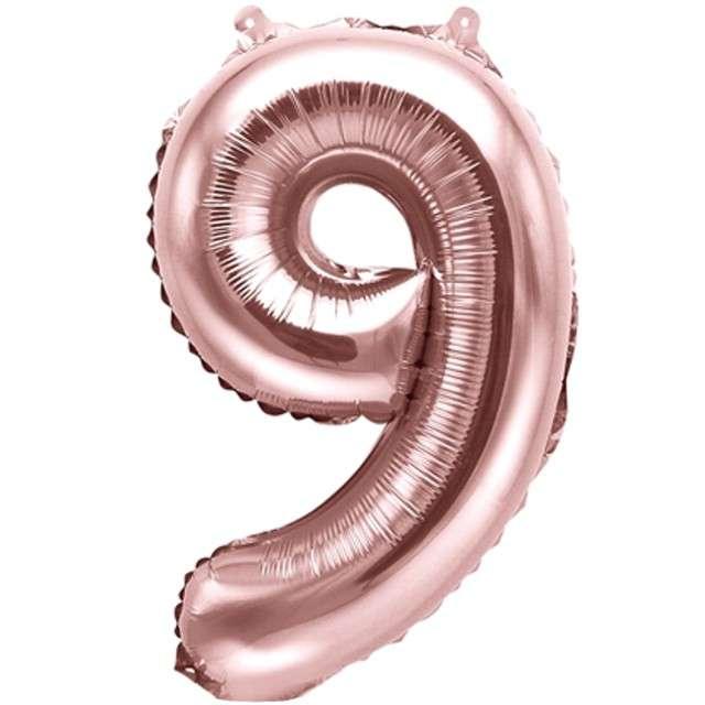 """Balon foliowy cyfra 9, 14"""", PartyDeco, różowe złoto"""