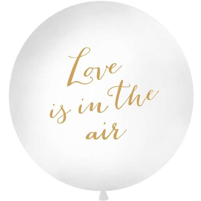 "Balon ""Love is in the air"", biały, 1 metr, Partydeco"