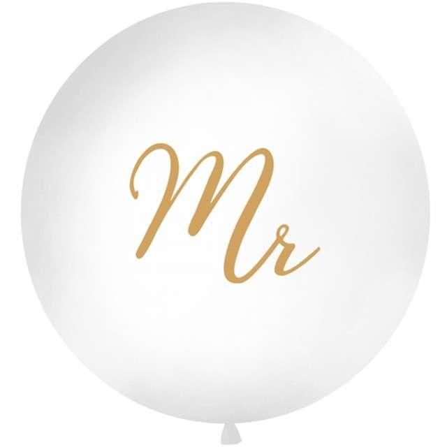 """Balon """"Mr"""", biały, 1 metr, Partydeco"""
