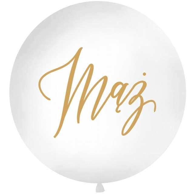 """Balon """"Mąż"""", biały, 1 metr, Partydeco"""