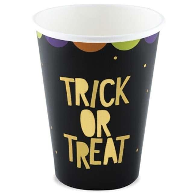 """Kubeczki papierowe """"Trick or Treat"""", czarne, PartyDeco, 220 ml, 6 szt"""