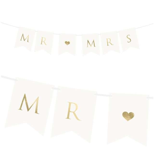 "Baner ""Mr & Mrs"", biały, Partydeco, 85 cm"