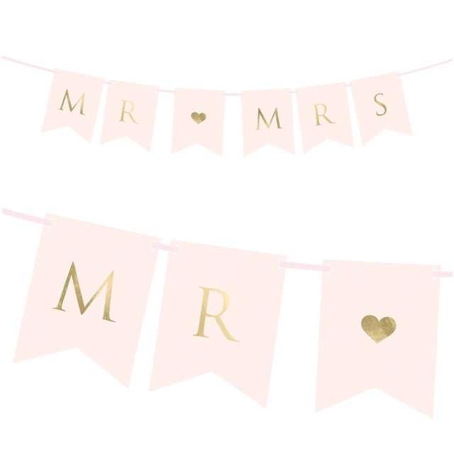 "Baner ""Mr & Mrs"", różowy, Partydeco, 85 cm"
