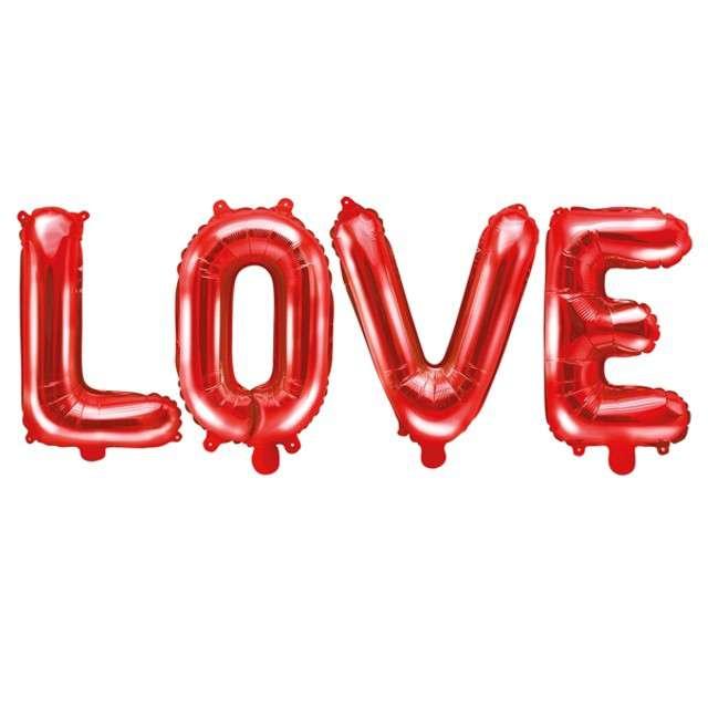 """Balon foliowy """"LOVE"""", czerwony, PartyDeco, zestaw"""