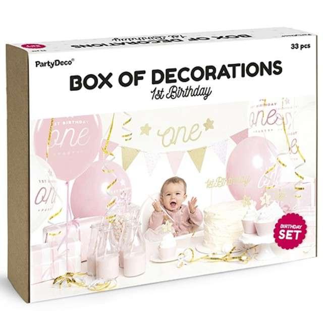 """Zestaw dekoracji """"1st Birthday Party"""", złoty, PartyDeco"""