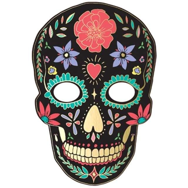 """Maska """"Dia de Los Muertos"""", czarna, papierowa, PartyDeco"""