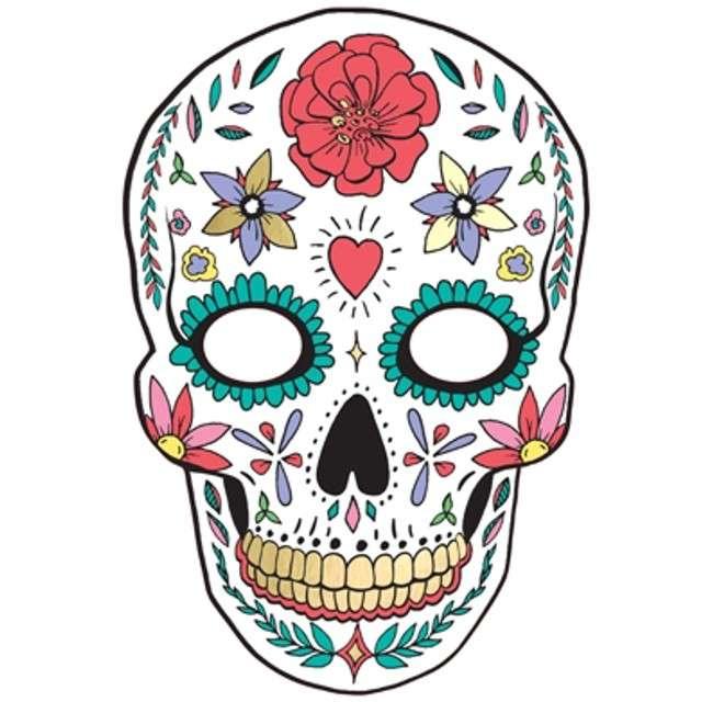 "Maska ""Dia de Los Muertos"", biała, papierowa, PartyDeco"