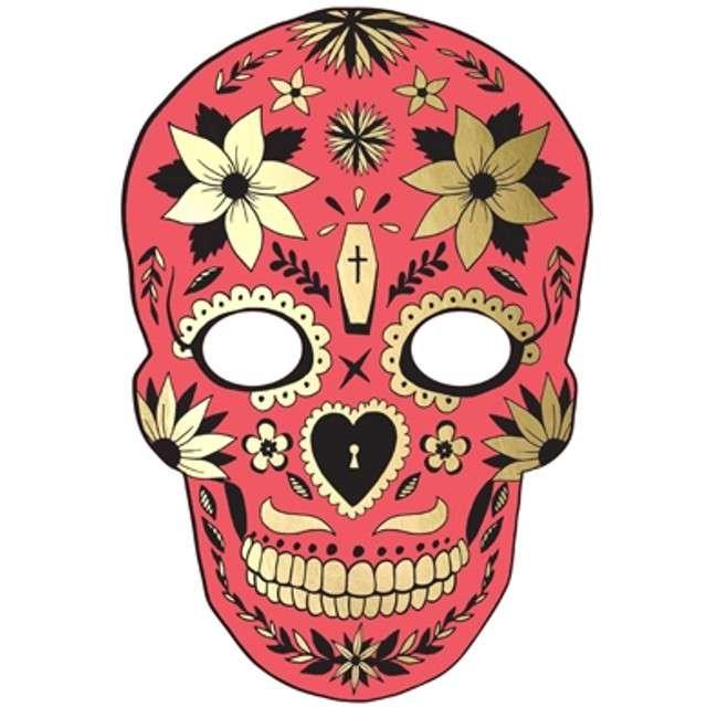 "Maska ""Dia de Los Muertos"", czerwona, papierowa, PartyDeco"