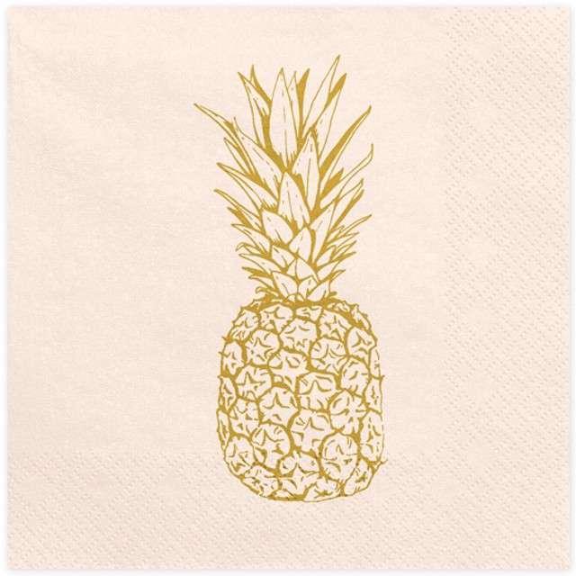 """Serwetki """"Aloha - Ananas"""", jasnobrzoskwiniowe, PartyDeco, 33 cm, 20 szt"""