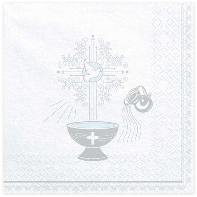 """Serwetki """"Chrzest Święty - srebrny"""", białe, PartyDeco, 33 cm, 20 szt"""