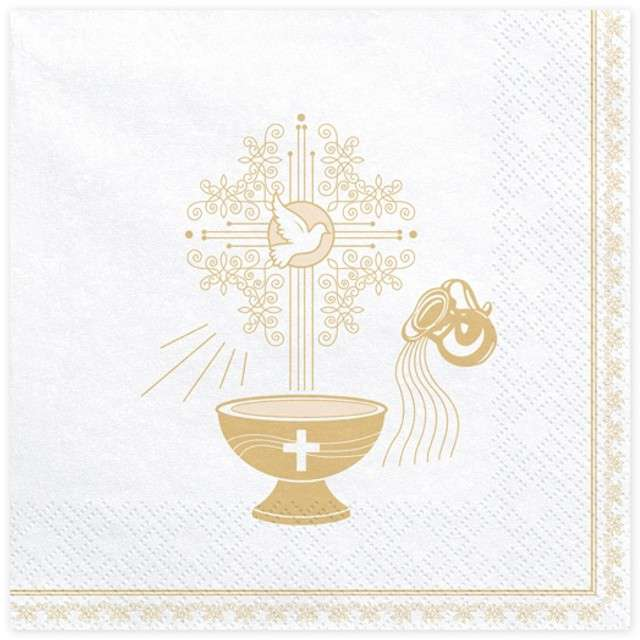 """Serwetki """"Chrzest Święty - złoty"""", białe, PartyDeco, 33 cm, 20 szt"""