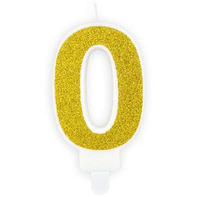"""Świeczka na tort """"Cyfra 0"""", złota brokatowa, PartyDeco, 7 cm"""