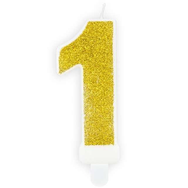 """Świeczka na tort """"Cyfra 1"""", złota brokatowa, PartyDeco, 7 cm"""