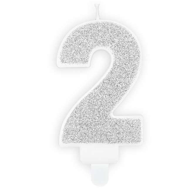 """Świeczka na tort """"Cyfra 2"""", srebrna brokatowa, PartyDeco, 7 cm"""
