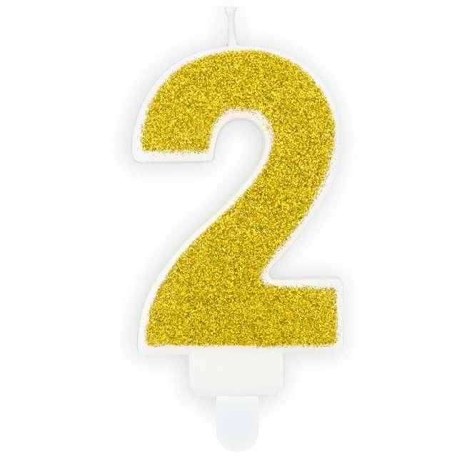 """Świeczka na tort """"Cyfra 2"""", złota brokatowa, PartyDeco, 7 cm"""