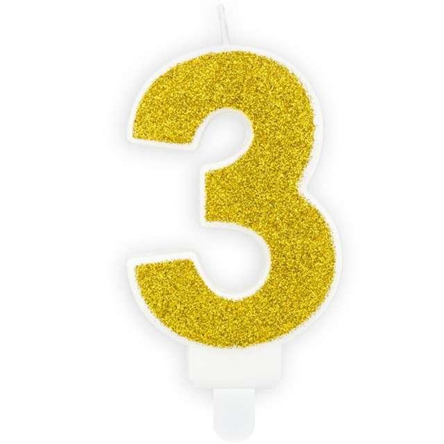 """Świeczka na tort """"Cyfra 3"""", złota brokatowa, PartyDeco, 7 cm"""