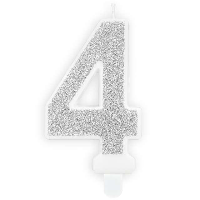 """Świeczka na tort """"Cyfra 4"""", srebrna brokatowa, PartyDeco, 7 cm"""