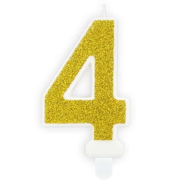 """Świeczka na tort """"Cyfra 4"""", złota brokatowa, PartyDeco, 7 cm"""
