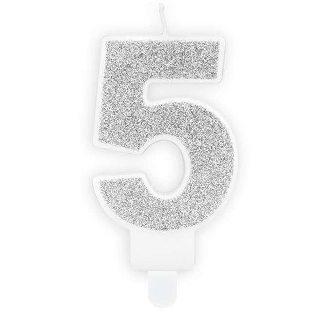 """Świeczka na tort """"Cyfra 5"""", srebrna brokatowa, PartyDeco, 7 cm"""