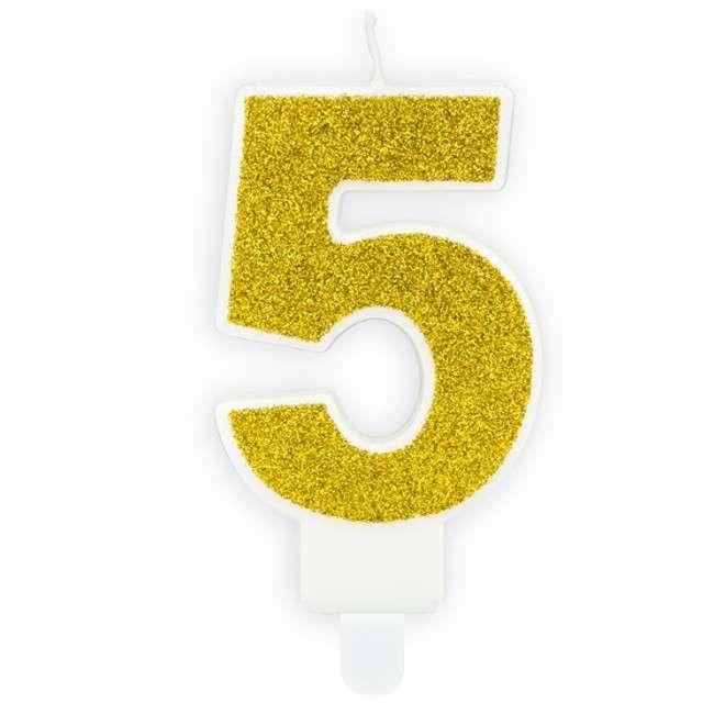 """Świeczka na tort """"Cyfra 5"""", złota brokatowa, PartyDeco, 7 cm"""