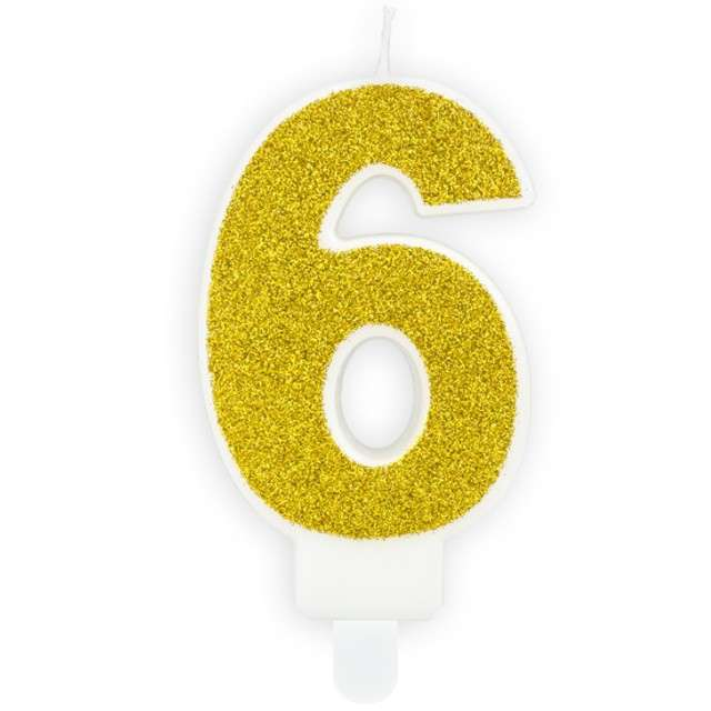 """Świeczka na tort """"Cyfra 6"""", złota brokatowa, PartyDeco, 7 cm"""